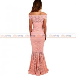 Fustan me dantellë rozë LC61481-10