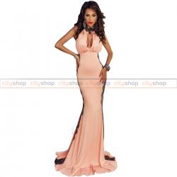 Fustan ngjyrë rozë me dantellë F61129-10